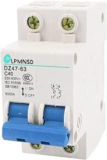AC 230V/400V 40A ON/OFF Switch Double Pole Mini Circuit Breaker 6000A