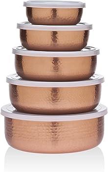 5-Pieces Godinger Hammered Copper Storage Bowl Set