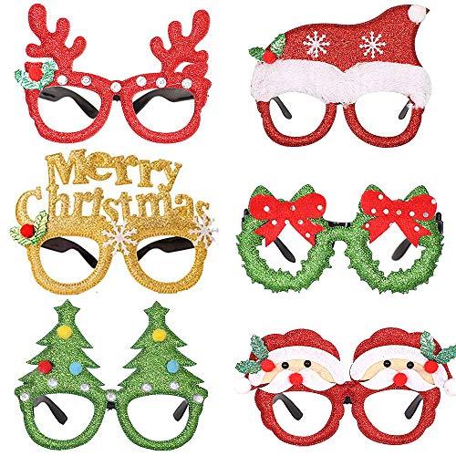 Occhiali di Natale,Montatura Occhiali novità di Natale 6pcs Occhiali da Festa con Glitter Natalizi Occhiali da Vista di Natale Decorazioni Natalizie per Giocattoli per Bambini Adulti