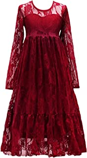 FYMNSI Kids Girls Princess Dress Long Sleeves Floral Lace Bowknot Dress Wedding Birthday Party Pageant Gown 4-13T