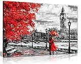 Reproducción de pintura al óleo del Big Ben de Londres con un paraguas rojo en un lienzo para la pared, Rojo, A0 91x61cm (36x24in)