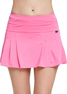 Amormio Women's Solid High Waisted Pleated Skort Quick-Dry Running Tennis Golf Mini Skirt with Underneath Shorts