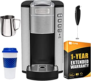 Cuisinart SS-6 Compact Single Serve Coffee Maker (Renewed) w/ 1 Year Extended Warranty Pack Includes, Reusable 16-Oz. Mug, Milk Frothing Pitcher + Handheld Electric Foam Maker
