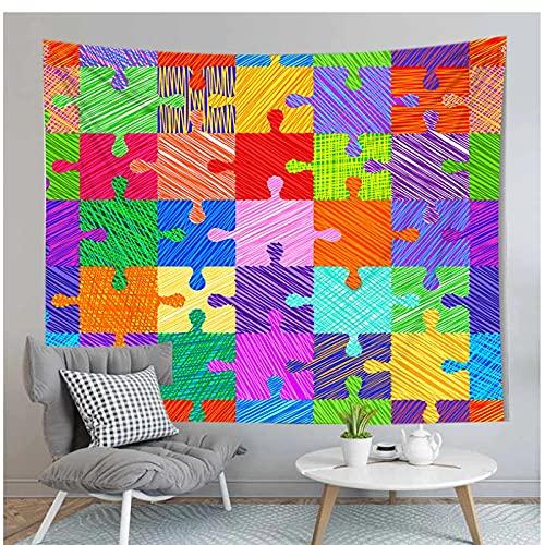 Tapiz by BD-Boombdl Impresión 3D Color Puzzle Decorativo Arte de la pared Paño colgante Alfombra de playa Paño de picnic Decoración del dormitorio del hogar 70.86'x90.55'Inch(180x230 Cm)