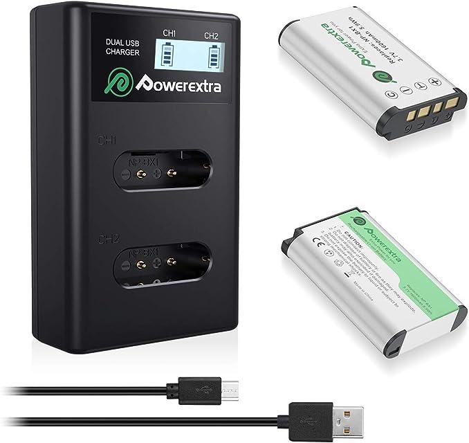 Powerextra Sony - 2 baterías de Repuesto NP-BX1/M8 de 1600 mAh y 1 Cargador Doble para Sony Cyber-Shot DSC-RX100 DSC-RX100 V DSC-RX100 IV DSC-HX400 DSC-HX400V 1DSC-RX1 etc.