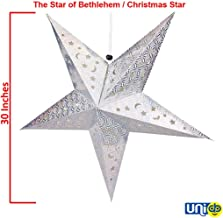 Selling Uniqness UNIq 3D Card Paper Star Lantern Lampshade Hollow Out Design Hanging Christmas Xmas Day Decoration (30 Inches, Silver)