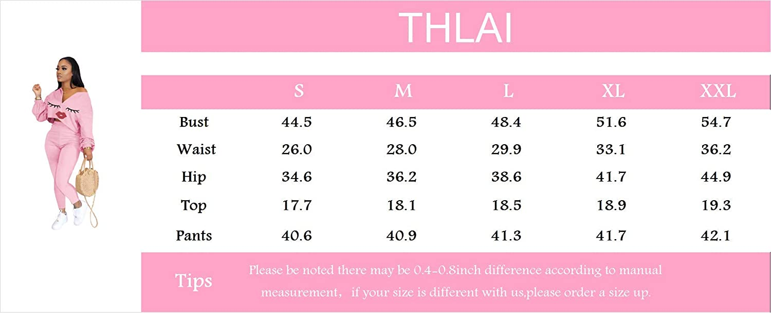 THLAI Womens Fall 2 Piece Outfits Lips Print Zipper Crop Tops Skinny Pants Long Two Piece Outfits Sets