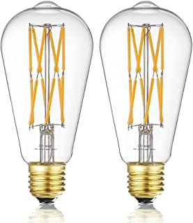 Leools 10W Edison Style Vintage LED Filament Light Bulb,100 Watt Equivalent Light Bulbs,Dimmable,Warm White 2700K,1200LM,ST64, E26 Medium Base Lamp, Antique Shape, (2 Pack)