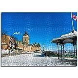 BOVIENCHE 1000 Teile Holzpuzzle Klassische Holzpuzzle 3D Holzpuzzle Spielzeug Einzigartiges Kanadische Architektur und Pavillon mit Flagge Geschenk Home Decor -(52 x 38cm)