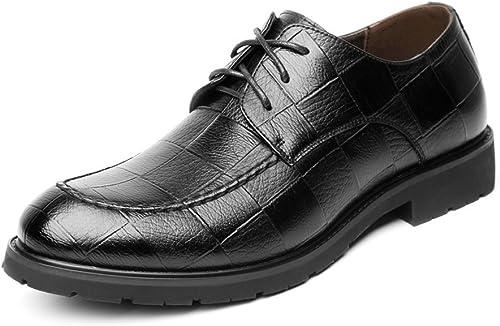 Willsego Chaussures Chaussures Classiques pour Hommes à Lacets Texture PU en Cuir PU Oxford Formels d'affaires pour Les Hommes résistant à l'abrasion (Couleuré   Noir, Taille   43 EU)