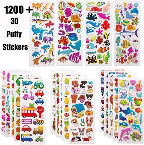 1200 Pcs 3D Stickers Vivid Puffy Kids Stickers 40 Sheets, Colored 3D Stickers Animal Party Bag Fillers for Boys Girls Teachers as Reward Including Animals Fish Dinosaurs Numbers Fruits Trucks Airplane