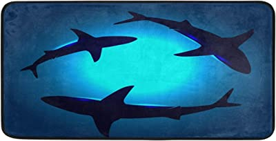 WELLDAY 39x20 Inch Area Rug Floating Sharks Door Mat Washable Non-Slip Throw Floor Carpet