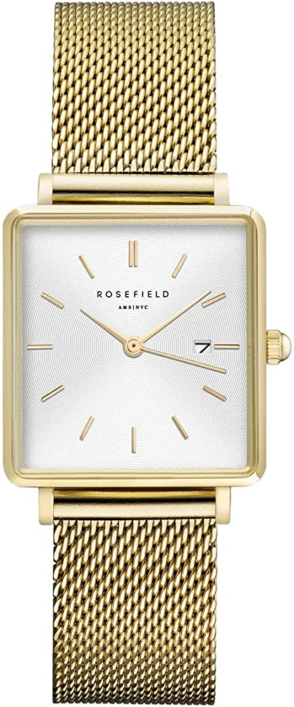 Rosefield the boxy, orlogio da donna, in acciaio inossidabile placcato oro 14 kt QWSG-Q03