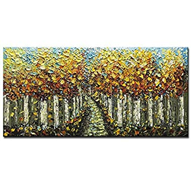 Asdam Art-Hand Painted 3D Painting Yellow Forest Paintings On Canvas Moder Landscape Wall Art Living Room Bedroom Wall Artwork Home Office Hotel Wall Decor(24x48inch)