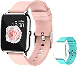 """feifuns Smart Watch,1.4"""" LCD Full Touch Screen Fitness Tracker with Heart Rate/Blood Pressure/Blood Oxygen Monitor,Pedometer,Sleep Tracker,Waterproof Activity Tracker for Men/Women/Gift (Pink+Band)"""