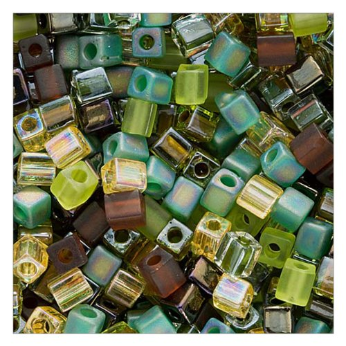 Beadaholique Miyuki 10gm Glass Cube Bead Mix, 4mm, Earthtones'