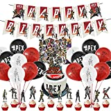82 Pcs Apex Legends irthday Party Supplies, Classic Game Boys and girls Party Decorations with Happy Birthday Banner Cake Topper Cupcake Toppers Balloons Stickers