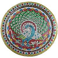karwa CHAUTH/Karva CHAUTH especial decorativo/Puja Pooja Thali/bandeja con bonito diseño de pavo real para rituales hindú templo, Mandir templo Accessory