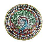 Karwa Chauth/Karva Chauth Speciale Decorativo Puja/Pooja thali/Piatto con Bel Design Pavon...