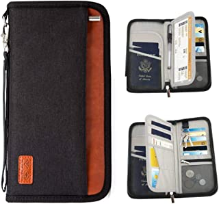 Passport Holder RFID Blocking Multifunction - Travel Wallet for Family Larger Capacity Waterproof Nylon Fabric