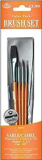 Royal & Langnickel Royal Zip N' Close Sable and Camel Round and Flat 4-Piece Brush Set