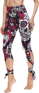 W4232  Casual Women slim legging skull printed high-waist cut out leggings S-XL