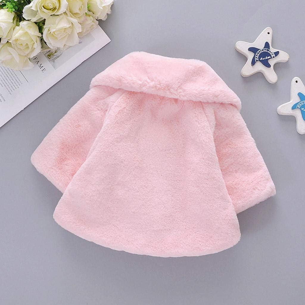Allence Baby Kleinkind Mädchen Faux Pelz Mantel Winterjacke Kinderjacken Warm Winter Jacken Dicke Kleidung(0-36Monate) Rosa1