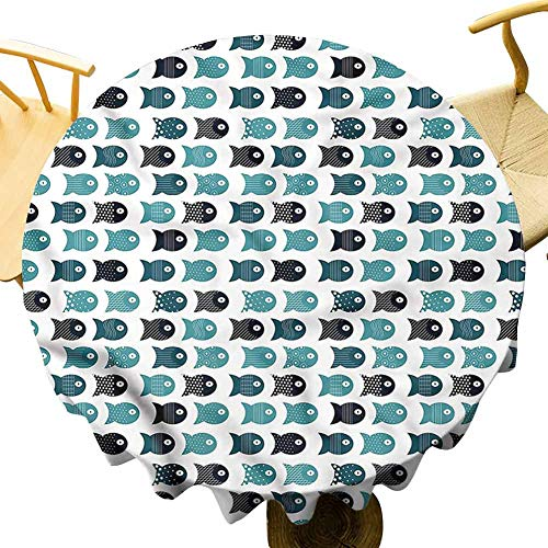 Restaurant Tablecloth Rhombuses with Squares. Outdoor Picnic Table Diameter 36'