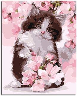 Senza Cornice 20 Pollici Dipingere con i Numeri Gatto Fiori Rosa Vernice di Numero Kit per Adulti e Bambini Dipinto ad Olio Fai-da-Te Tela con pennelli Decorazioni Regali 16