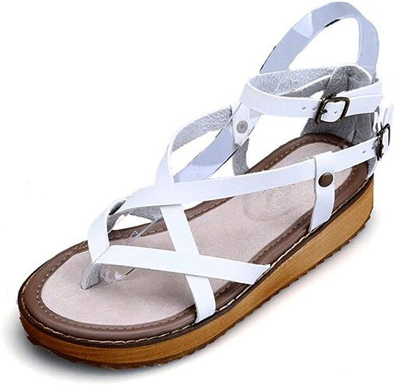 Giles Jones Wedges Flip Flops Flat Sandals for Women,Roman Cross Belt Buckle Platform T-Strap Beach shoes