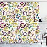 N \ A Geometrischer Duschvorhang, Spiralen mit lustigen Punkten & Blasen, Hintergr&-Themen-Druck, Stoff, Badezimmer-Dekor-Set mit Haken, 183 x 183 cm, grün-gelb