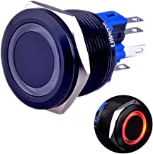 Ulincos Momentary Push Button Switch U22A1 1NO1NC Black Metal Shell with 12V Red LED Ring Suitable for 22mm 7/8