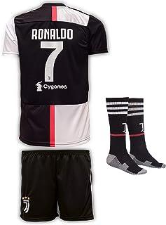Juve 2019-20 Ronaldo, Casa/Lejos, Camiseta de Manga para niños con Pantalones Cortos y Calcetines (Tallas 2-14 años)