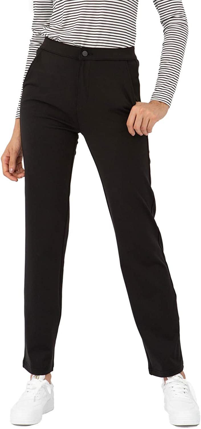 Bamans Womens Pants Casual for Work Dress Pants with Pockets Straight Leg