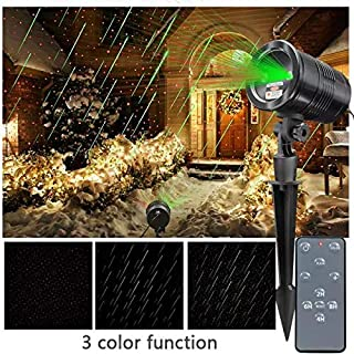 KSWIN Christmas Laser Projector Star Fall Projector Waterproof Green and Red Moving Meteor Shower Laser Light with Wireless Remote for Christmas,Holiday,Halloween,Party
