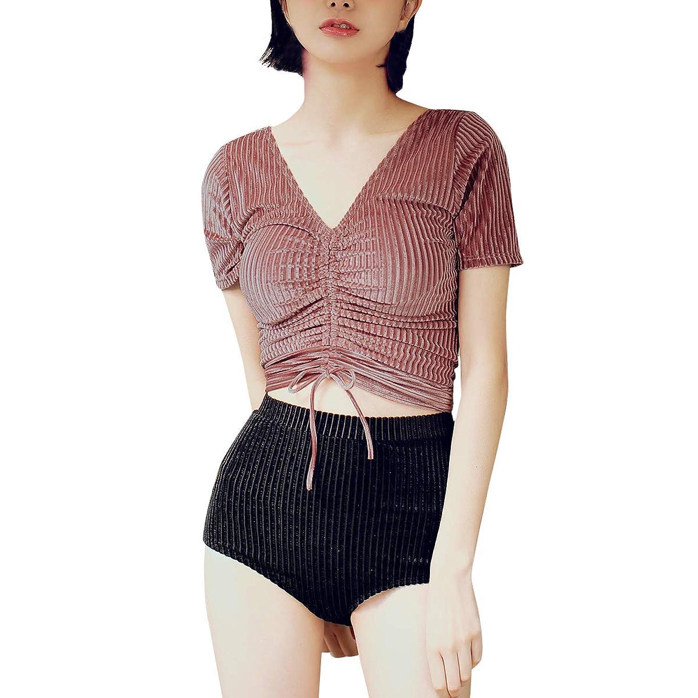 【OSYAREVO】水着 レディース 袖付き 体型カバー オトナ女子 大きいサイズ パッド付き ワイヤー無し ベロアブラ