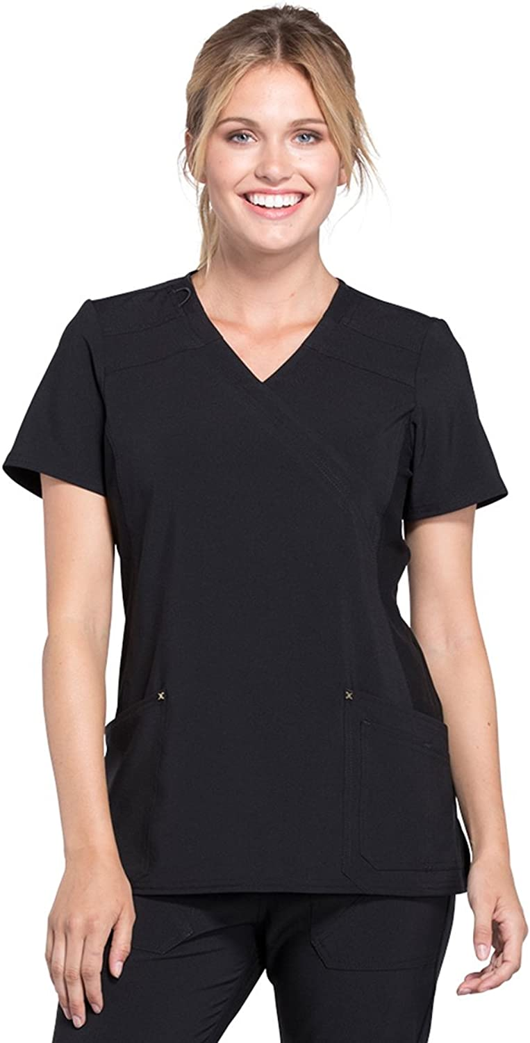 Cherokee Iflex CK680 Women's Mock Wrap Knit Panel Solid Scrub Top