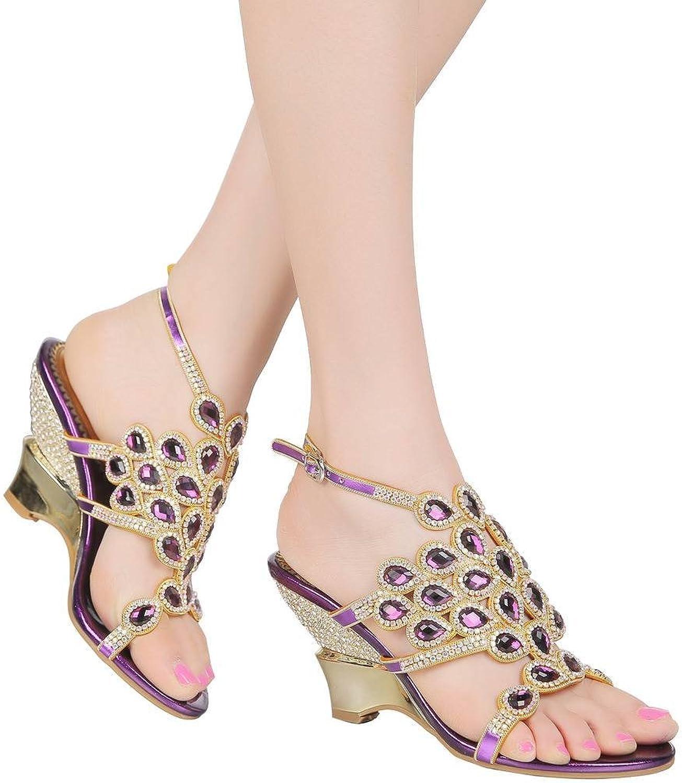 Yootyz Rhinestone Enrostad Evening Sandals Sandals Sandals Cutout bröllop Sandal Slingback Wedge Sandal  erbjuder 100%