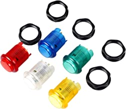 EG STARTS 5X 30mm Arcade LED Lights Push Button Built-in Switch 5V Illuminated Buttons for Arcade Machine Games DIY Kit Parts Jamma Mame Raspberry Pi 1 2 3 ( Each Color of 1 Piece ) & 5 Colour