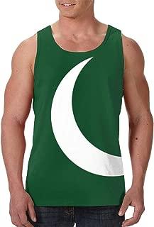 Men's Tank Top Flag of Pakistan with Cross Cotton Sleeveless Vest T-Shirt