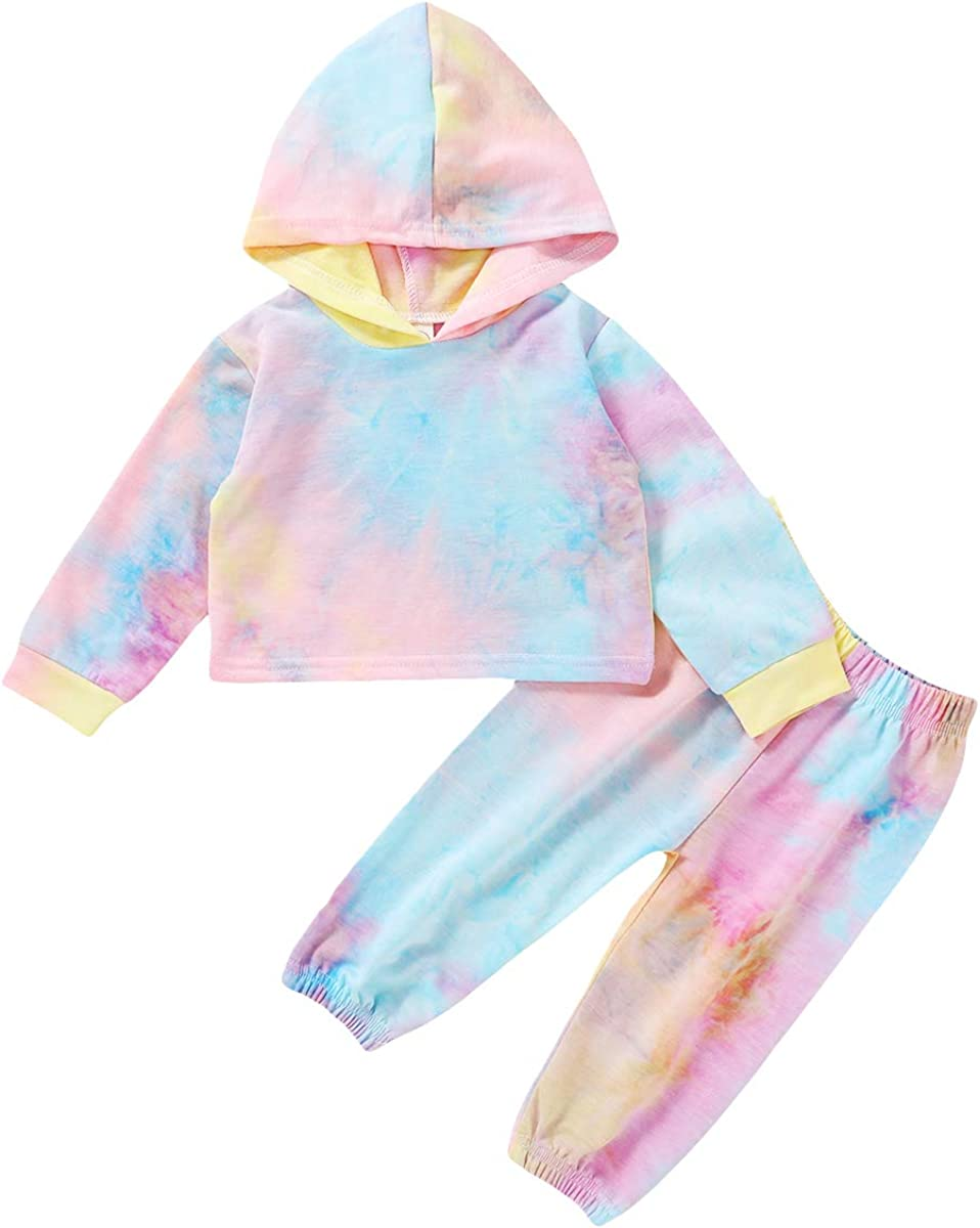 GOOCHEER Toddler Girl Clothes Tie Dye Long Sleeve Hoodie and Pant Set Toddler Girl Spring Fall Winter Outfit Clothing