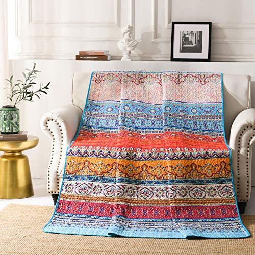 Qucover Gesteppte Tagesdecke Boho 150x200cm für Einzelbett Bettüberwurf Sofaüberwurf Exotik Böhmische Muster