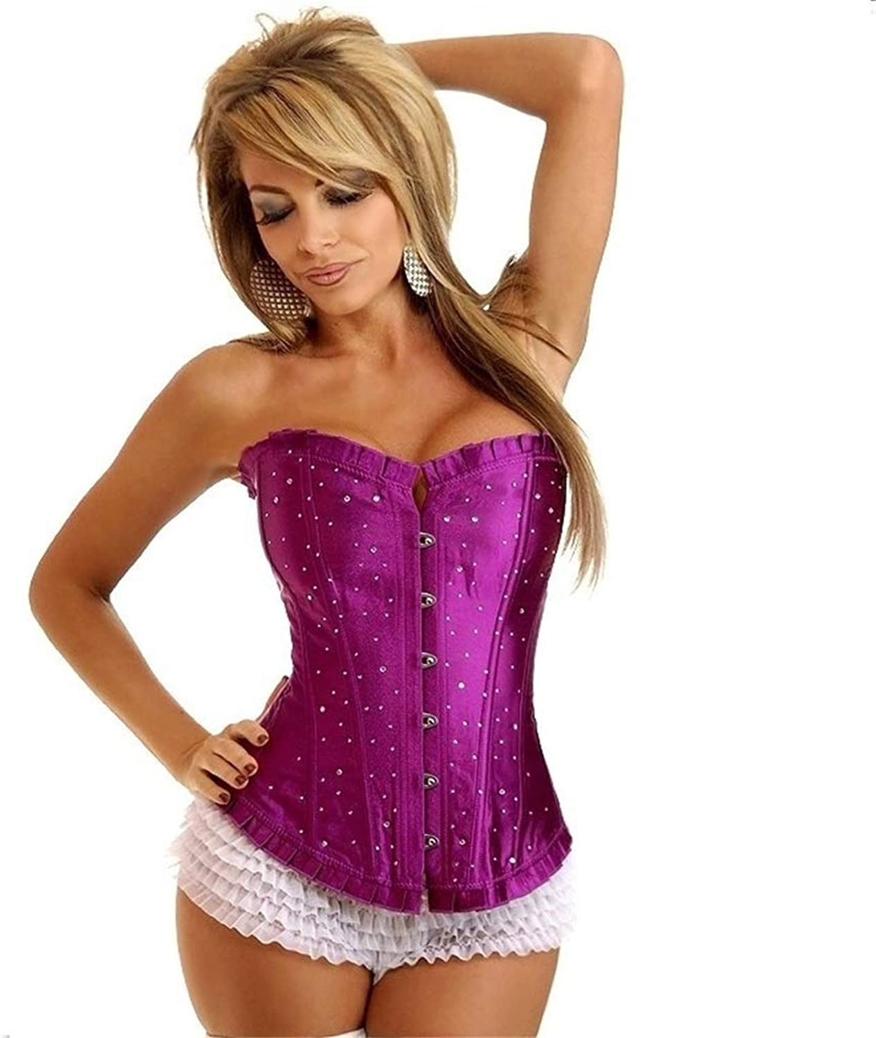 Corset Women's Floral Lace Slim Bodice Strapless Ruffled Brocade Thong and Corset (color   Purple, Size   M)