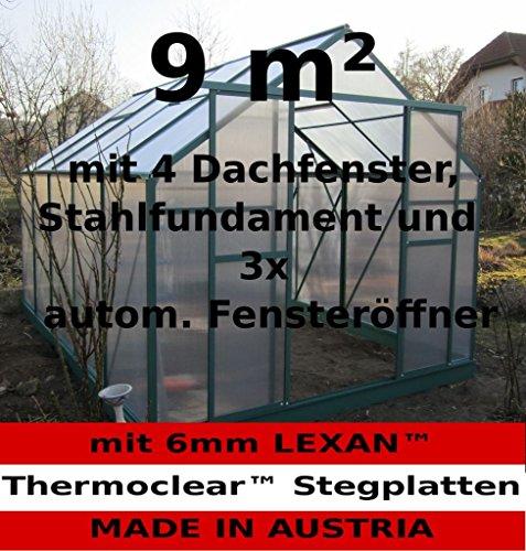 9m² PROFI ALU Gewächshaus Glashaus Treibhaus inkl. Stahlfundament u. 4 Fenster, mit 6mm Hohlkammerstegplatten - (Platten MADE IN AUSTRIA/EU) inkl. 3 autom. Fensteröffner von AS-S