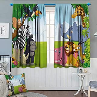 "SeptSonne Kids Decor Home Decoration Thermal Insulated Kids Decor Children Nursery Room Safari Themed Cartoon Animals Image Art Print Blackout Draperies for Bedroom 72""x63"" Multicolor"