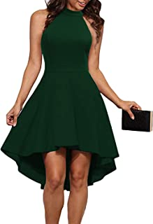 Women's Halter Neck High Low Backless Party Cocktail Skater Dress