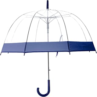Artiron Colorful Trim Clear Umbrella Bubble Fashion Dome Auto Open Transparent Umbrella for Outdoor Weddings Windproof (Navy Trim)