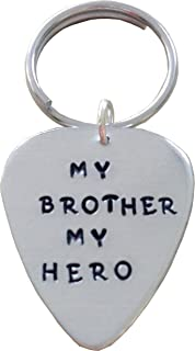 My Brother My Hero - Guitar Pick Keychain - Handstamped Custom Keychain- Personalized Guitar Pick