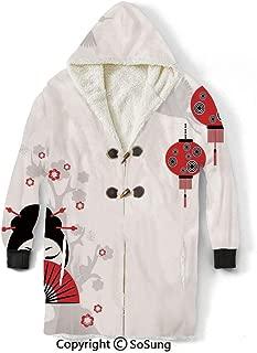 Lantern Blanket Sweatshirt,Geisha Holding Japanese Fan Floral Landscape Crane Bird Happiness Classical Illustration Wearable Sherpa Hoodie,Warm,Soft,Cozy,XXXXL,for Adults Men Women Teens Friends,Blac