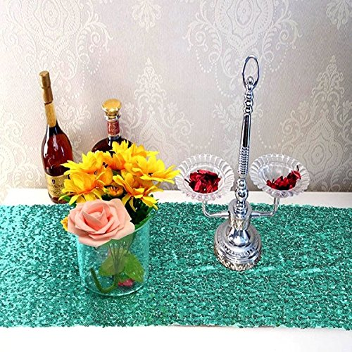 Bazaar 30x180cm Mint Groen Blush Pailletten Tafel Runner Bruiloft Party Tafelkleed Decoratie